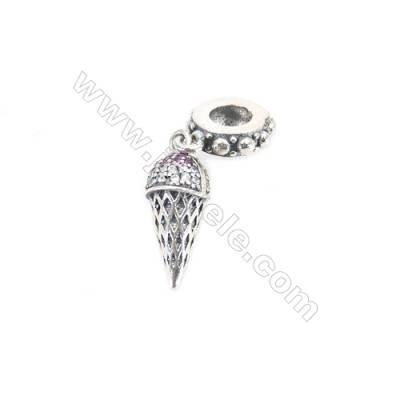 Sterling Silver Zircon European Beads, x 1 Piece, Ice Cream, Size: 6x16mm