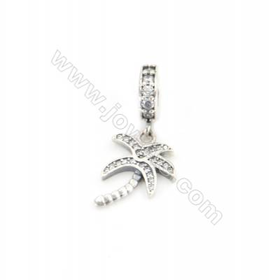 Sterling Silver Zircon European Beads, x 1 Piece, Coconut Tree, Size: 12x16mm