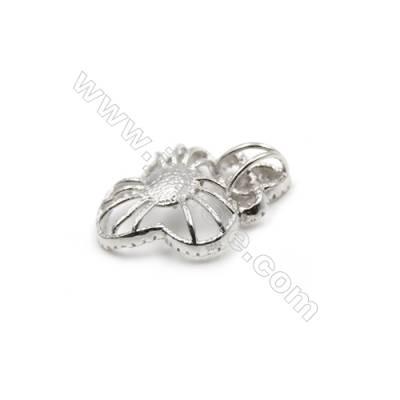 925 Sterling silver platinum plated zirconia pendant-D5412 21x25mm x 5 pcs Diameter of Disc 8mm Small Needle Diameter 0.7mm