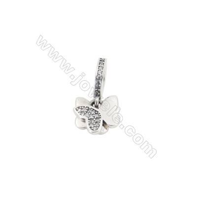 Sterling Silver Zircon European Beads, x 1 Piece, Lover Butterfly, Size: 10x11mm