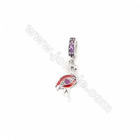 Sterling Silver Zircon European Beads, x 1 Piece, Swan, Size: 8X17mm