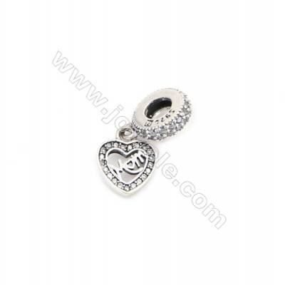 Sterling Silver Zircon European Beads, x 1 Piece, Heart, Size: 9x11mm