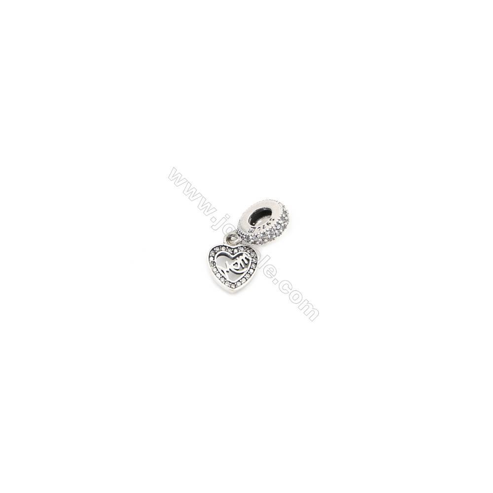 Sterling Silver Zircon European Beads, x 1 Piece, Heart, Size: 9x11mm