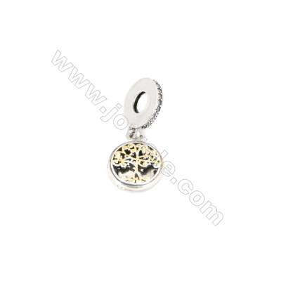 Sterling Silver Openable Zircon European Beads, x 1 Piece, Tree of Life,  Diameter : 11mm