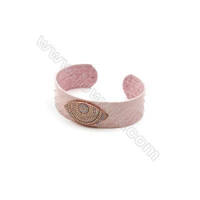 Snakeskin Bracelet (Adjustable), with Rose Gold Plated Brass Pave Cubic Zirconia, Eyes, Size 21mm, Inside Diameter 55mm