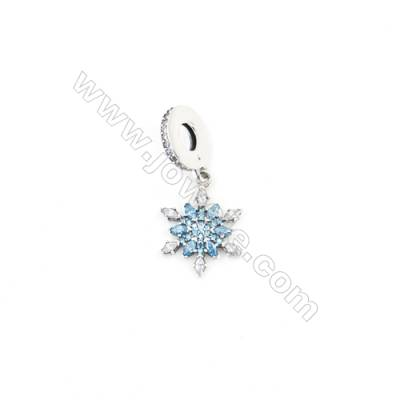Sterling Silver Zircon European Beads, x 1 Piece, Blue Snowflake, Size: 11x14mm