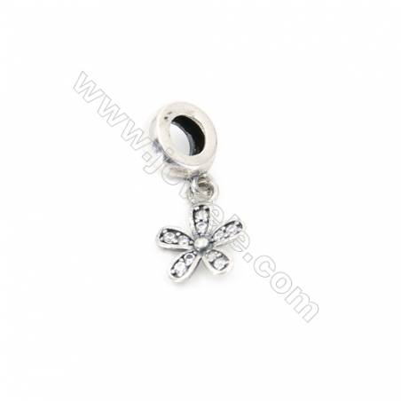 Sterling Silver Zircon European Beads, x 1 Piece, Five-Leaf Flower, Size: 9x13mm