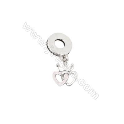 Sterling Silver Zircon European Beads, x 1 Piece, Heart To Heart, Size: 10x12mm