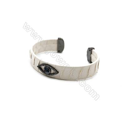 Snakeskin Bracelet (Adjustable), with Gun Black Plated Brass Pave Cubic Zirconia, Eyes, Size 14mm, Inside Diameter 57mm