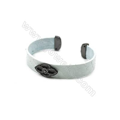 Snakeskin Bracelet (Adjustable), with Gun Black Plated Brass Pave Cubic Zirconia, Flower, Size 14mm, Inside Diameter 58mm