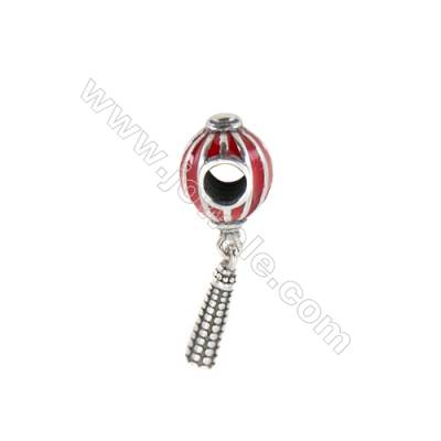 Sterling Silver European Beads, x 1 Piece, Lantern, Size: 9x26mm, Hole 3.5mm