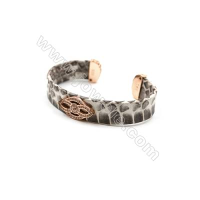 Snakeskin Bracelet (Adjustable), with Rose Gold Plated Brass Pave Cubic Zirconia, Flower, Size 21mm, Inside Diameter 60mm