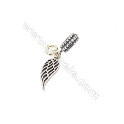 925 Sterling Silver European Beads, x 1 Piece, Wing, Size: 6x17mm