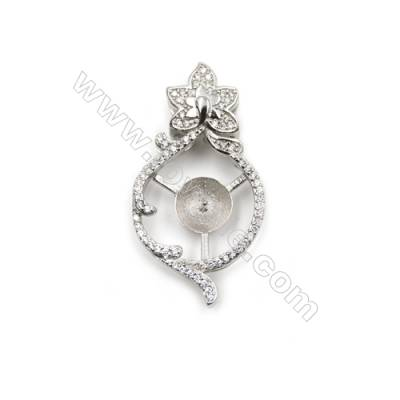 925 Sterling silver platinum plated zircon pendant, 17x33mm, x 5pcs, tray 8mm, needle 0.7mm