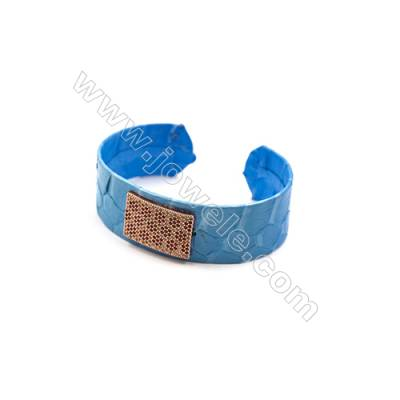 Snakeskin Bracelet (Adjustable), with Rose Gold Plated Brass Pave Cubic Zirconia, Rectangle, Size 21mm, Inside Diameter 54mm