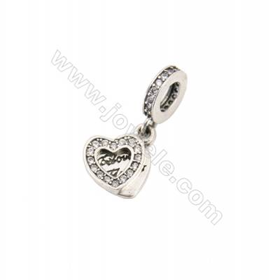 Sterling Silver Zircon European Beads, x 1 Piece, Heart, Size: 8x8mm