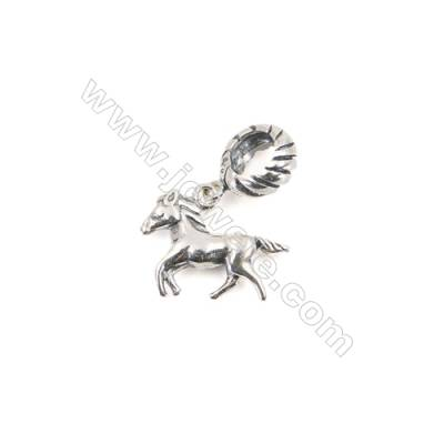 925 Sterling Silver European Beads, x 1 Piece, Horse, Size: 11x15mm