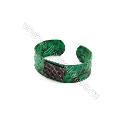 Snakeskin Bracelet (Adjustable), with Gun Black Plated Brass Pave Cubic Zirconia, Rectangle, Size 21mm, Inside Diameter 54mm