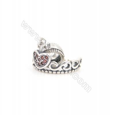 Sterling Silver Zircon European Beads, x 1 Piece, Crown, Size: 10x15mm