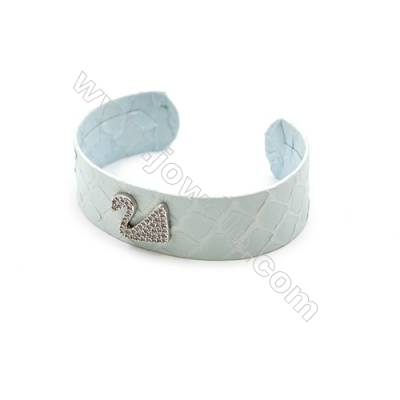 Snakeskin Bracelet (Adjustable), with Platinum Plated Brass Micro Pave Cubic Zirconia, Swan, Size 21mm, Inside Diameter 52mm