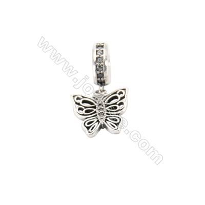 Sterling Silver Zircon European Beads, x 1 Piece, Butterfly, Size: 12x12mm