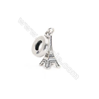 Sterling Silver European Beads, x 1 Piece, Eiffel Tower, Size: 7x16mm