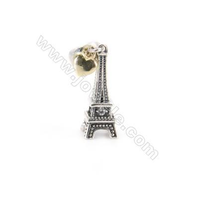 Sterling Silver Zircon European Beads, x 1 Piece, Eiffel Tower, Size: 7x20mm