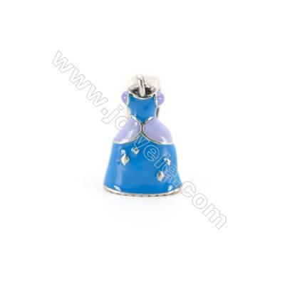 Sterling Silver European Beads, x 1 Piece, Ball Dress, Size: 11x18mm