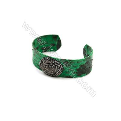 Snakeskin Bracelet (Adjustable), with Gun Black Plated Brass Micro Pave Cubic Zirconia, Swan, Size 21mm, Inside Diameter 57mm