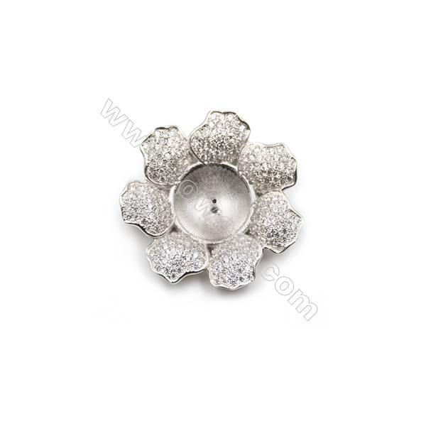 925 Sterling silver platinum plated CZ Pendant, 24mm, x 5pcs, tray 11mm, needle 0.8mm