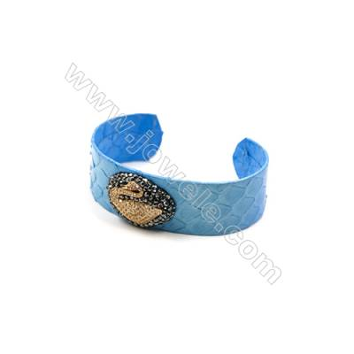Snakeskin Bracelet (Adjustable), with Gold Plated Brass Micro Pave Cubic Zirconia, Swan, Size 21mm, Inside Diameter 53mm