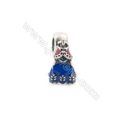 Sterling Silver European Beads, x 1 Piece, Blue Dress, Size: 9x15mm