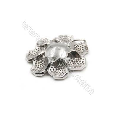 925 Sterling silver platinum plated CZ Pendant-D5655 24mm x 5pcs  disc diameter 11mm small needle diameter 0.8mm