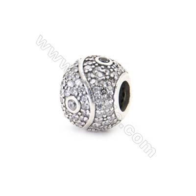 925 Sterling Silver Zircon European Beads, x 1 Piece, Round, Diameter 10mm, Hole 4mm
