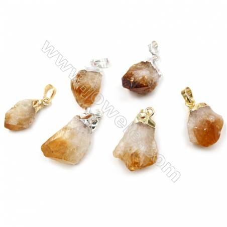 Irregular Natural Citrine Pendants, Nuggets, with Brass Findings, (Golden, Platinum) Plated, Size 19~28x12~21mm, 14pcs/pack