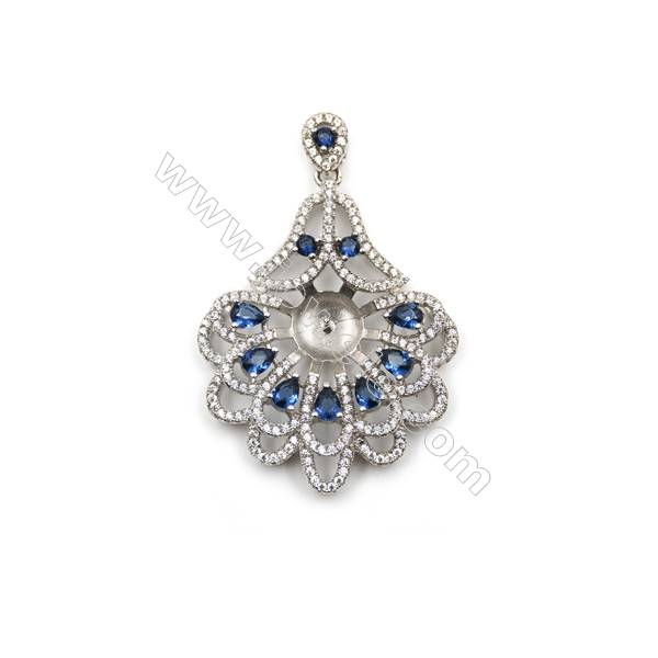 925 Sterling silver platinum plated zircon pendant, 30x38mm, x 5 pcs, tray 9mm,needle 0.8mm