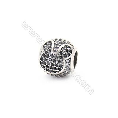 Sterling Silver Zircon European Beads, x 1 Piece, Mouse, Diameter : 11mm, Hole 4.5mm