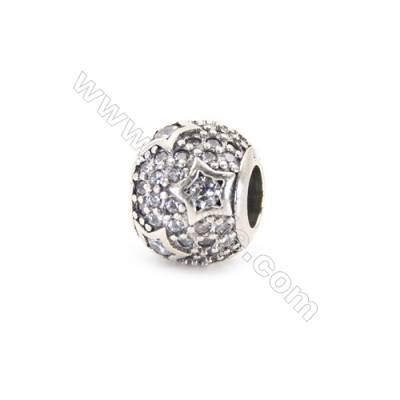 Sterling Silver Zircon Micropave European Beads, x 1 Piece, Round, Diameter 10mm, Hole 4.5mm