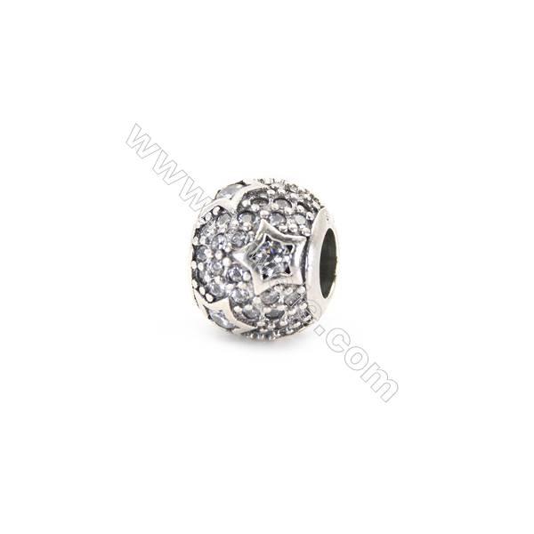 Sterling Silver Zircon Micropave European Beads, x 1 Piece, Round, Diameter 10mm, Hole 4.5mm