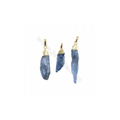 Natural Irregular Kyanite with Brass Pendants, (Golden, Silver) Plated, Size 35~56 x 7~12 x 2~12mm, 5pcs/pack
