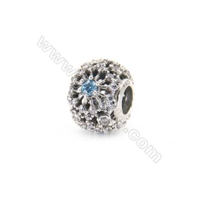 Sterling Silver Zircon Micropave European Beads, x 1 Piece, Round, Diameter 11mm, Hole 4mm