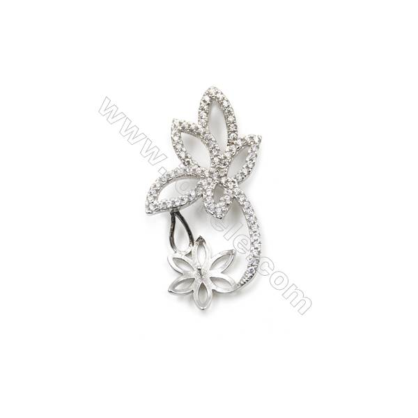925 Sterling silver platinum plated CZ Pendants, 16x33mm, x 5 pcs, tray 11mm, needle 0.8mm