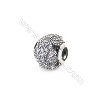 Sterling Silver Zircon European Beads, x 1 Piece, Round, Diameter : 12mm, Hole 4mm