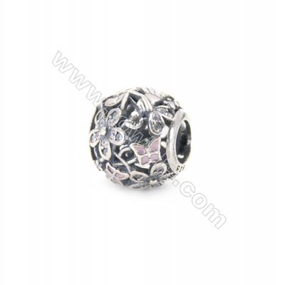 Sterling Silver Zircon Micropave European Beads, x 1 Piece, Round, Diameter: 12mm, Hole 4mm