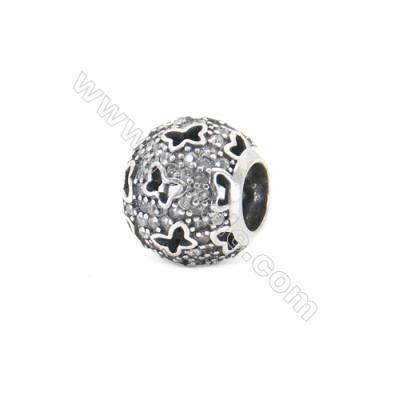 Sterling Silver Zircon Micropave European Beads, x 1 Piece, Round, Diameter: 11mm, Hole 4mm