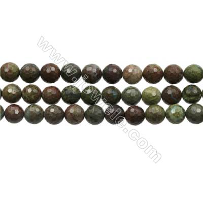 "Natural Dinosaur Stone Jasper Beads Strands, Round Faceted, Diameter 10mm, Hole 1mm, 15~16""/strand"