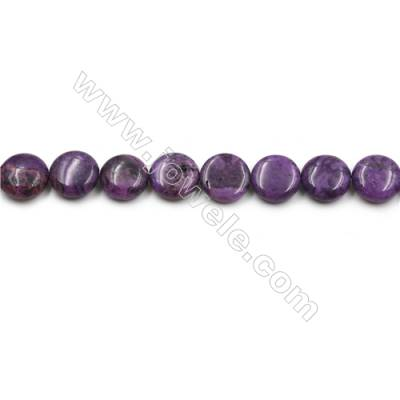 "Purple Crazy Agate Gemstone Beads Strands, Flat Round, Diameter 15mm, Hole 0.7mm, 15~16""/strand"