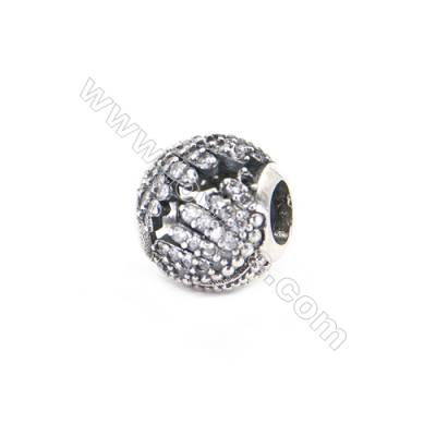 Sterling Silver Zircon Micropave European Beads, x 1 Piece, Round, Diameter: 10mm, Hole 4mm