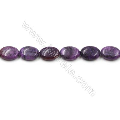 "Purple Crazy Agate Gemstone Beads Strands, Flat Oval, Diameter 13x18mm, Hole 0.7mm, 15~16""/strand"