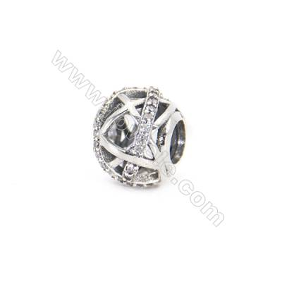 Sterling Silver Zircon Micropave European Beads, x 1 Piece, Round, Diameter: 10mm, Hole 4.5mm